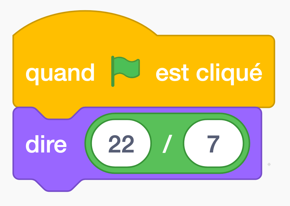 22/7 ; approximation de Pi ; calcul en Scratch